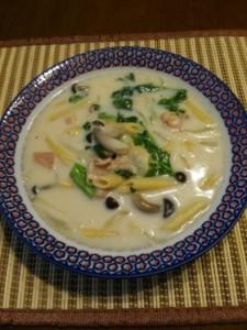 菜の花のクリームスープパスタ