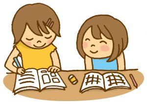 宿題をする子どもたち