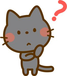 ?を浮かべる黒猫
