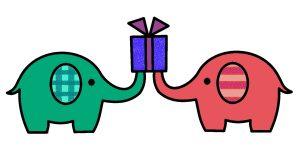 プレゼントとゾウ