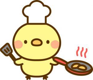 料理をするひよこ